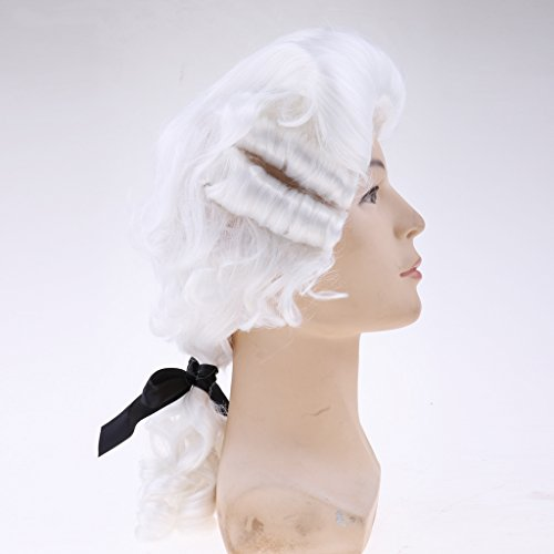 Homyl White Baroque Men's Wig Hair George Washington Medieval Renaissance Accessory Cosplay Halloween Makeup (Renaissance Man Wig)