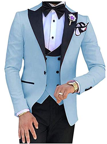 Botong Men's 3 PC Light Blue Notch Lapel Wedding Suits Slim Fit Groom Tuxedos Prom Suits Casual Suit Light Blue 36 Chest / 30 Waist