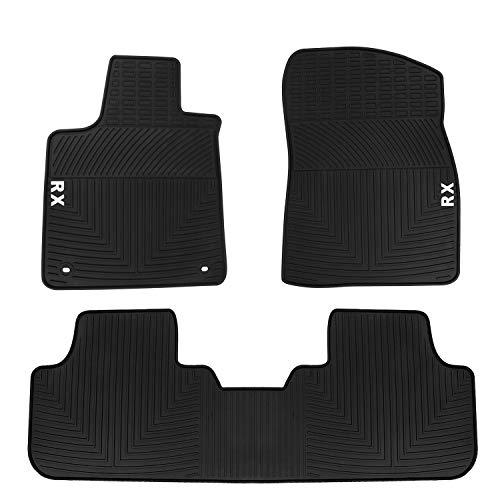 HD-Mart Car Floor Mats Lexus RX 200T 350 350H(5 Seats) 2015-2016-2017-2018-2019, Custom Fit Black Rubber Car Floor Liners Set for All Weather Protection - Heavy Duty & Odorless