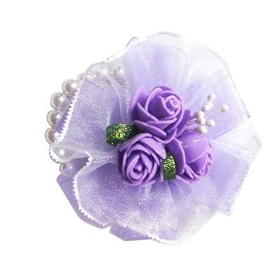 Wedding Party Prom Wrist Corsage Flower Faux Pearl Bracelet Purple