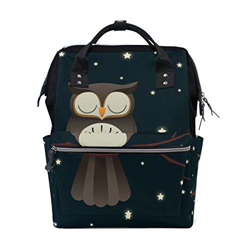 MAPOLO Sleepy Owl Diaper Backpack Large Capacity Baby Bag Multi-Function Nappy Bags Travel Mom Backpack for Baby Care