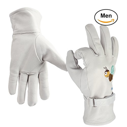 Ozero Leather Work Gloves   Garden Glove With Colourful Embroidery   Puncture Resistant   Durable For Household Vineyard Gardening Hiking   Breathable Mesh Fabric Lining For Man  White  Xl