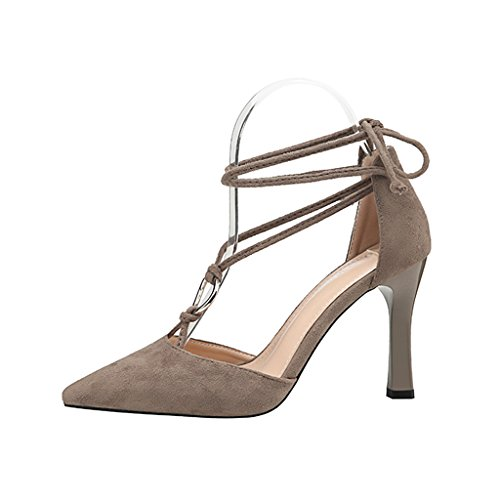 ALUK- Damenschuhe - Europa und die Vereinigten Staaten hochhackigen Schuhe sexy Spitzensandalen wilde dünne Schuhe ( Farbe : Grau , größe : 37-Shoes long235mm ) Grau