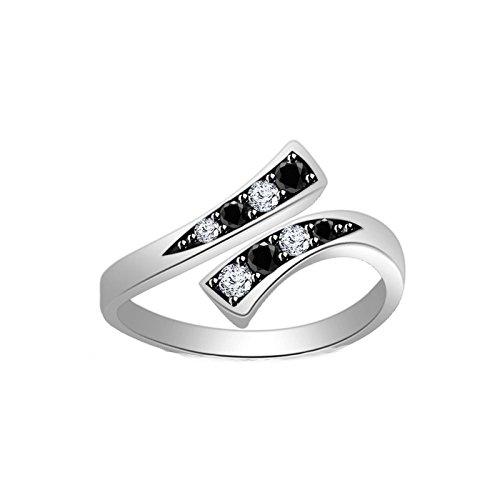 Jalash Toe Ring in 14k White Gold Finish with Black Cz Round Diamonds Pave Set (White Gold Finish) ()