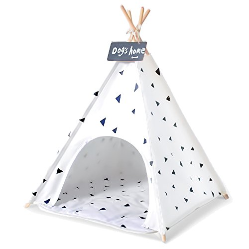 Wonder Space Pet Teepee Tent - 28 Inch Portable Cat Dog Puppy Snuggle House with Removable Cushion Mat By, 100% Natural Cotton Canvas Small Animals Wooden Poles Furniture Bed Tent, White by Wonder Space