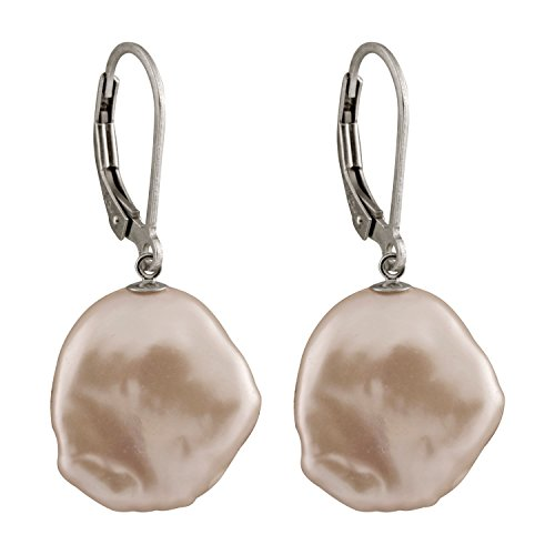 925 Sterling Silver Rhodium-plated Lever-back Earrings 13-15mm Coin Shape Pink Keshi Pearls ()