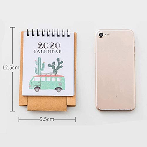 Mini 2020 Tischkalender-Cartoon-Tier Stand Up Desktop-Papierkalender Englisch Kalender, Kaktus