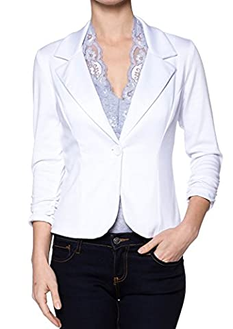 A.S Juniors Casual Three Quarter Sleeve Fitted Blazer (Medium, White) (Fitted Jacket Juniors)