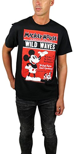 Disney Mickey Mouse Classic Distressed Graphic T-shirt (X-large, Wild Waves)