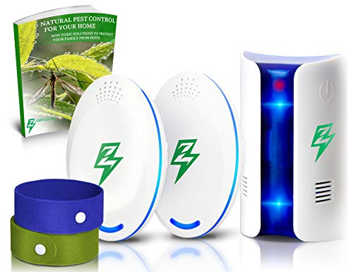 ULTRASONIC PEST Repeller Plug in - Humane & Advanced 2018 PEST Reject Control- Indoor Electronic- 3 Pack, 2 Mosquito Bracelets, EBook - GET RID of Mouse Rat Spider Cockroach Cricket Bug Repellent