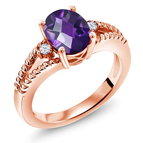 - Gem Stone King 1.57 Ct Oval Checkerboard Purple Amethyst 18K Rose Gold Plated Silver Ring (Size 9)