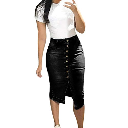 (JOFOW Skirt Womens Denim Buttons Distressed Skinny Sexy High Waist Vintage Retro Short Casual Straight Mini Pencil Dresses)