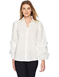 Women's Woven Shirt with Pintucked Sleeves