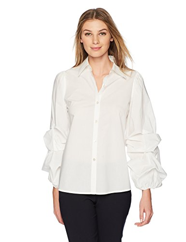 Lark & Ro Women's Woven Shirt with Pintucked Sleeve