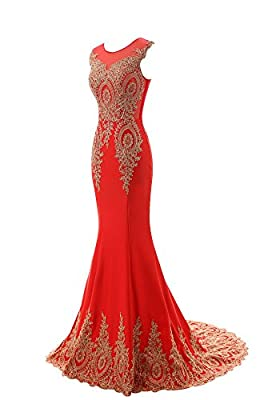 King's Love Women's Mermaid Evening Dress Lace Embroidery Sleeveless Prom Gowns
