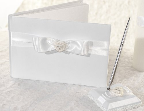 (Rhinestone Pearlized Heart Rose Bouquet Wedding Guestbook and Pen Set: Set Color: Ivory/Gold)