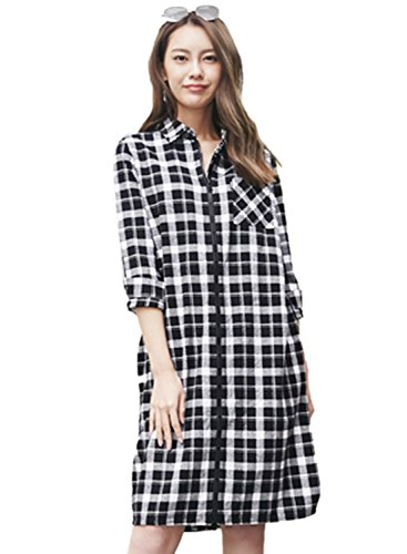 meters-bonwe-womens-casual-plaid-long-sleeve-front-zip-shirt-blackwhite-m