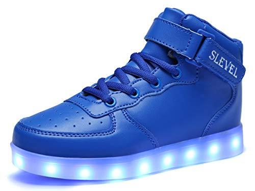 Price comparison product image SLEVEL LED Light Up Shoes USB Flashing Sneakers for Kids Boys Girls(SS98Blue28)