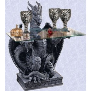 Serving Dragon Statue Coffee End Table Sculpture New (The Digital Angel)