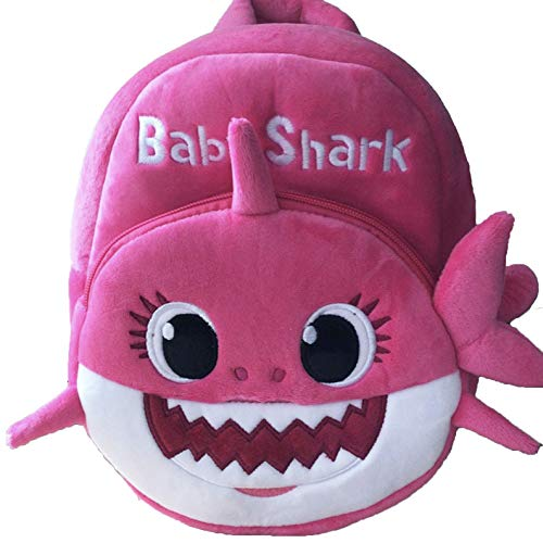 New Cartoon Baby Shark School Bag for Children Kids Cute Plush School Backpack Blue Rose Yellow Color Boys Schoolbag - Pink