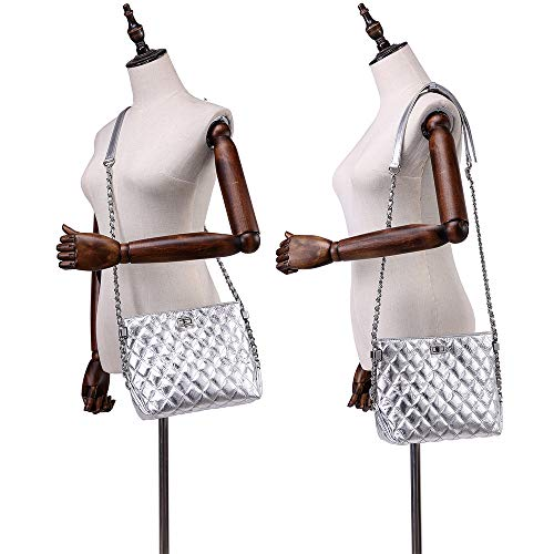 Shoulder Neverout Zipper Purse NP2119S Silver Leather Handbags Chain Women Quilted Bag for Split wqwrEfC