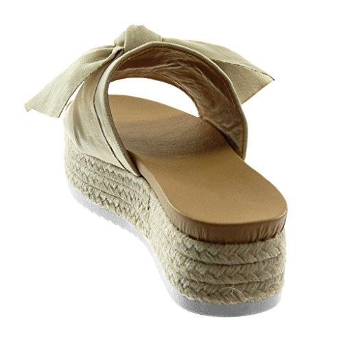 Tacco Zeppe Intrecciato Piattaforma On Angkorly Nodo Mules 5 Zeppa Corda 4 Moda Donna Slip Sandali Beige cm Scarpe qwv1P