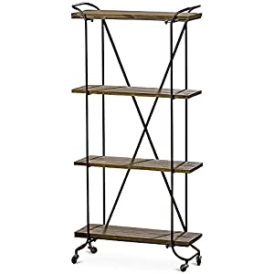 WHW Whole House Worlds Stockbridge Rolling Rack with 4 Shelves, Etagere, Wheels, Black Metal and Dark Rustic Wood…
