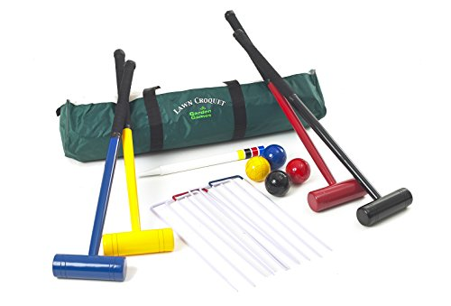 Garden Games Four Player Lawn Croquet Set with 77cm Long Mallets in a Bag by Garden Games