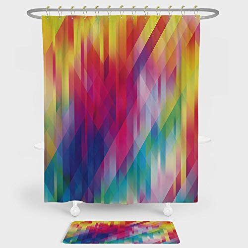 Hoop Diagonal (Rainbow Shower Curtain And Floor Mat Combination Set Vertical Diagonal and Crosswise Lines in Rainbow Color Pattern Geometric Shapes Art For decoration and daily use Multicolor)