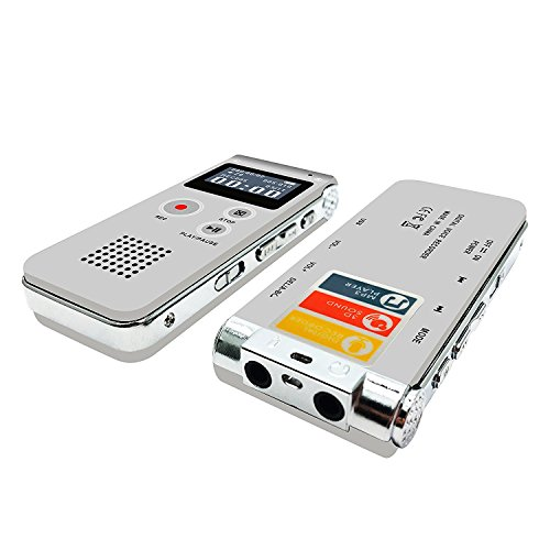 Voice Recorder, Digital Voice Recorder, eBoTrade 8GB Multifunctional Rechargeable Dictaphone, Audio MP3 Music Player with Mini USB Port (Sliver)