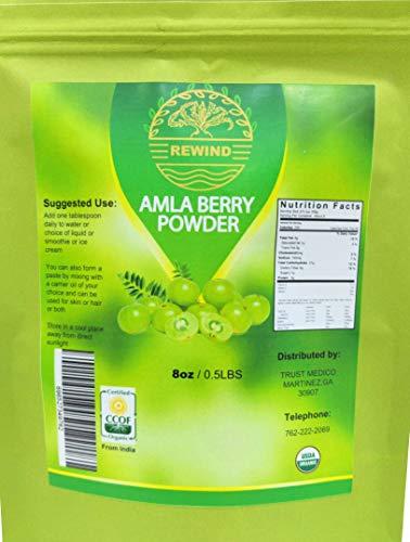 Amla Organic Powder Indian Gooseberry Powder (Amalaki) Foil Resealable Bag - 100% Raw Pure - By Rewind With Nature Organics