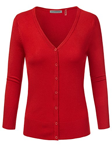 JJ Perfection Womens 3/4 Sleeve V-Neck Button Down Knit Cardigan Sweater