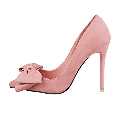 Pink High Optimal Pointed Butterfly Women Bow Heels wgxaq71n