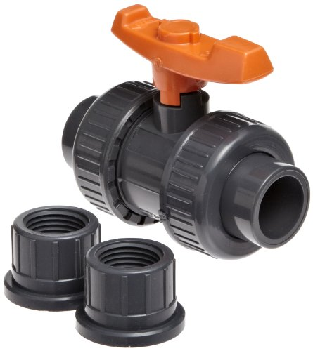 GF Piping Systems PVC True Union Ball Valve with Full Port, Two Piece, PTFE Seat, EPDM Seal, 1/2