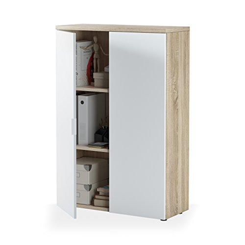 Habitdesign 0F5655A - Mueble Auxiliar despacho, Modelo Office, Blanco Artik y Roble Canadian, Medidas: 119 x 80 x 32,5 cm