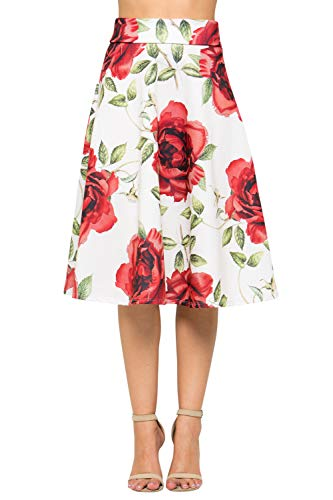 Junky Closet Women's A Line Knee Length High Waisted Skirt (Made in USA) (Small, A20447TTAM WHT Rose)