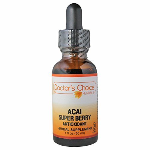 Doctor's Choice Acai Super Berry Antioxidant A/F Liquid Herbal Supplement with Acai Berry Extract, Mangosteen Fruit Extract, Goji Berry, and Pomegranate Fruit 30ml Kosher PREMIUM QUALITY-Glass Bottle