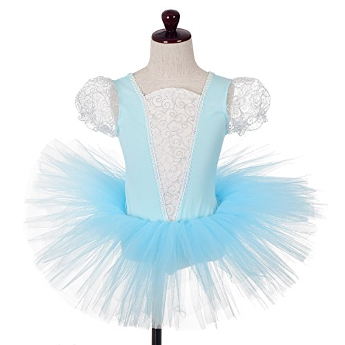 Dressy Daisy Girls' Princess Cinderella Ballet Tutu Dance Costume Leotard Fairy Dress Size 5-6 Blue