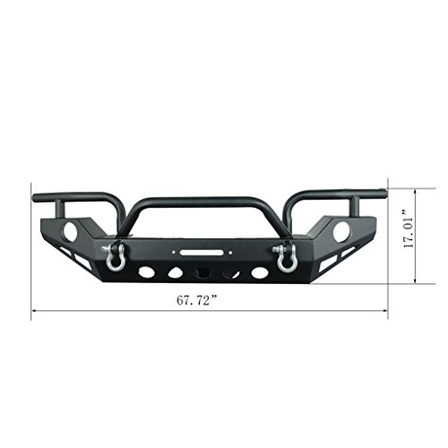 Restyling Factory Jeep JK Black Textured Full Width Front Bumper with Fog Light Holes and Winch Plate