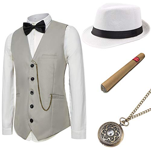 BABEYOND 1920s Mens Gatsby Gangster Vest Costume Accessories Set Manhattan Fedora Hat Bowtie Plastic Cigar Vintage Pocket Watch (Gray, Small ()