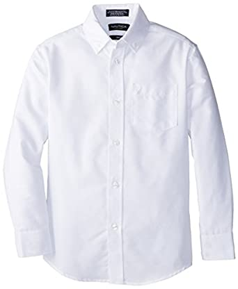 Amazon.com: Nautica Boys' Solid Long-Sleeve Button-Down Shirt ...