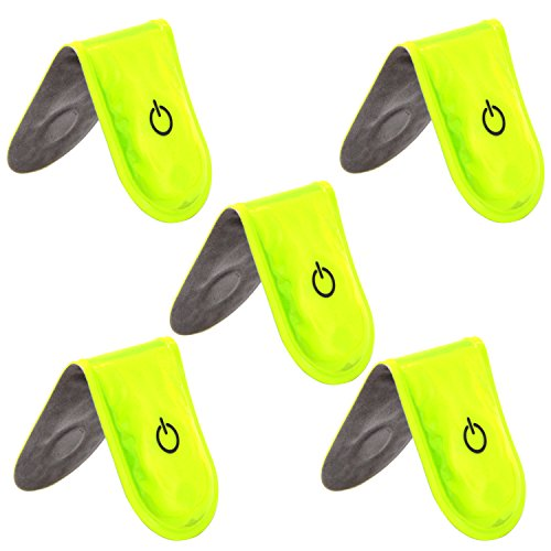 Set of 5 LED Safety Light ShineMe 3V Magnetic Reflective Clip On Strobe Free Bonuses for Runners, Dogs, Walking|Best High Visibility Accessories Gear Bicycle Helmet Bike Tail light (green-5pcs)