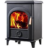 HiFlame EPA approved 5kw 85% efficiency steel body wood burning stove HF905U Paint Black