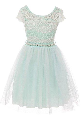 Big Girl Cap Sleeve Lace Pearl Tulle Graduation Wedding Flower Girl Dress USA Mint 8 JKS 2133P