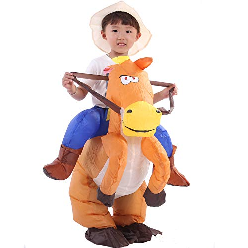 starcourtyard Halloween Inflatable Horse Costumes for Adult Kids Carry Me Costumes (Inflatable Horse S)]()