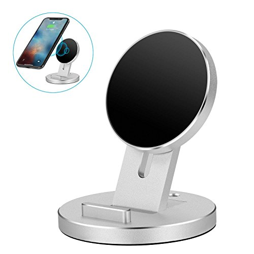 NEXGADGET Aluminum Detachable Wireless Charger, 2 in 1 Adjustable Phone Stand Compatible for iPhone Xs Max/XS/XR/X/8/8 Plus, Samsung Galaxy S9/S9 Plus/Note 8/S8/S8 Plus/S7 and All Qi-Enabled Devices