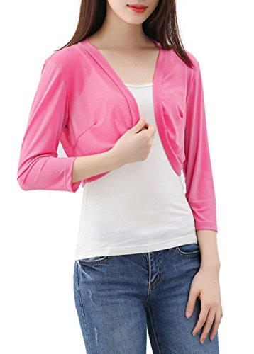 Pink Bolero (Tandisk Women's 3/4 Sleeve Bolero Shrug Pink M)
