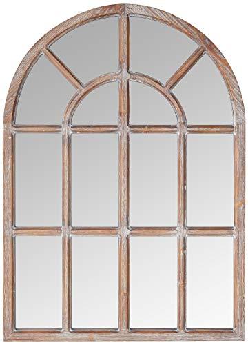 "Amazon Brand – Stone & Beam Vintage Farmhouse Wooden Arched Mantel Mirror, 36.25""H, Dark Stain"