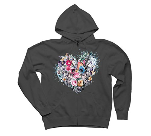 Skull - Love Forever Women's Small Charcoal Graphic Zip (Forever Womens Zip Hoodie)