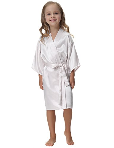 Aibrou Kids' Satin Kimono Robe Bathrobe Nightgown For Spa Party Wedding Birthday]()